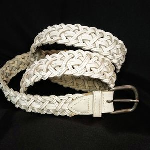"""Accessories - Braided 1"""" White Leather Belt Silver Buckle M/L"""